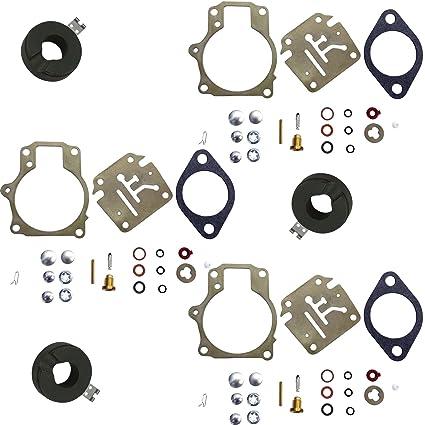 3 Pack of Deluxe Venom Brand Carburetor Carb Rebuild Repair Kit w FLOAT  Fits MANY Johnson Evinrude 18 20 25 28 30 35 40 45 48 50 55 60 65 70 75 HP