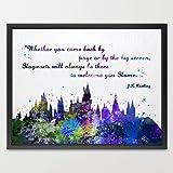 Dignovel Studios 8X10 Hogwarts Castle Quote Harry Potter Inspired Watercolor illustration Art Print N382