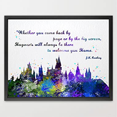 Dignovel Studios 13X19 Hogwarts Castle Quote Harry Potter Watercolor illustration Art Print Friendship Quotes Nursery Kids Art Print Wedding Birthday Gift N382