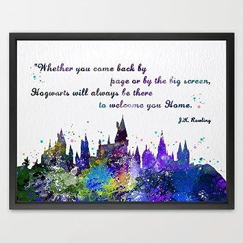 Dignovel Studios 13X19 Hogwarts Castle Quote Harry Potter Watercolor  Illustration Art Print Friendship Quotes Nursery Kids