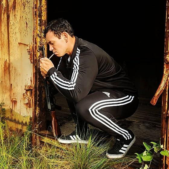 adidas Men's Essentials 3-Stripe Tricot Track Jacket Gopnik squat and photo shoot