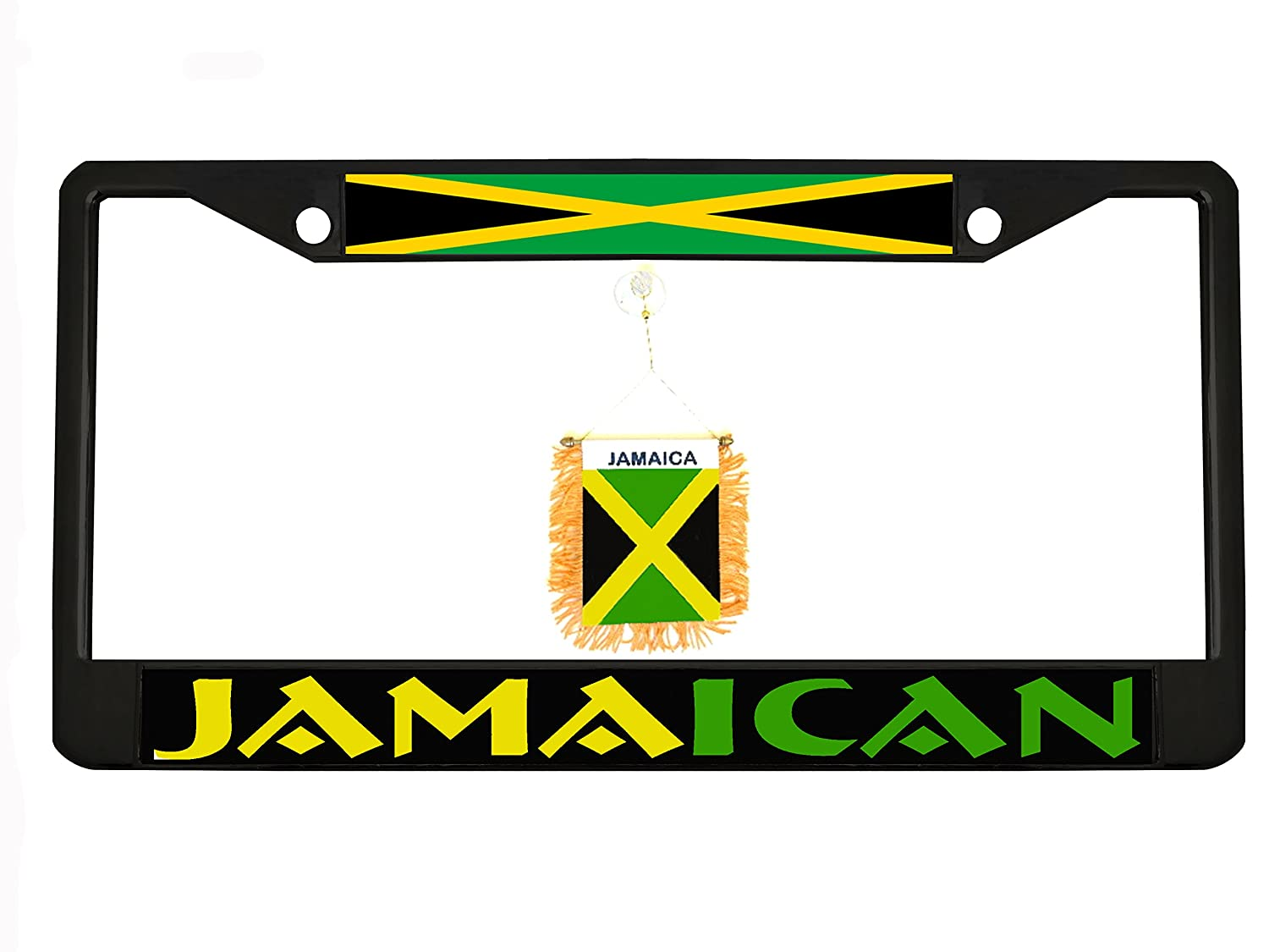 Jamaican black Metal Auto License Plate Frame Car Tag Holder with car banner flag hanger New Custom Auto Tag NCAT2BYGC1
