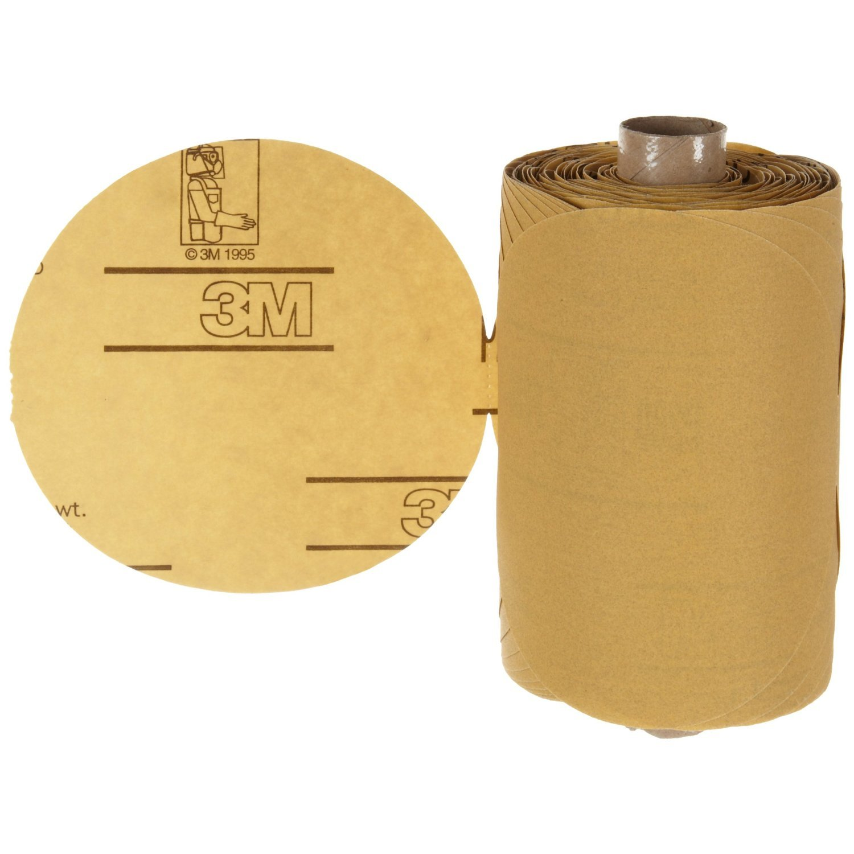 Aluminum Oxide Paper PSA Attachment P80 Grit 3M  Stikit  Gold Paper Disc Roll 216U Roll of 125 Gold 6 Diameter