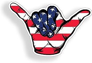 USA Hang Loose Sticker American Flag Shaka Cup Cooler Laptop Car Truck Vehicle Window Bumper Vinyl Graphic