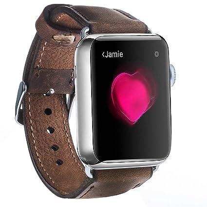 Amazon.com: Apple Watch banda Burkley cierre funda Lujo piel ...
