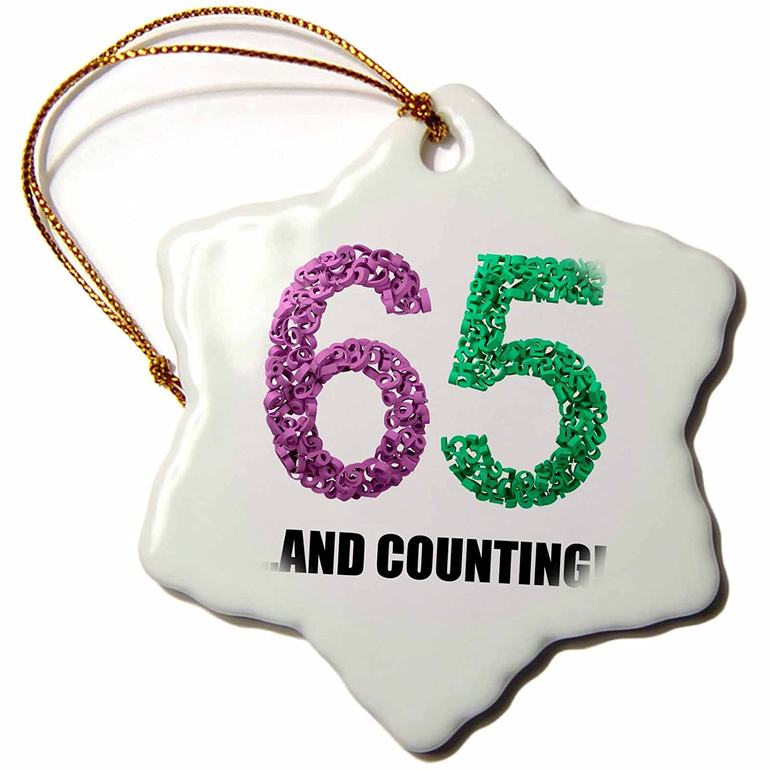 Intricate Numbers Design 65th Anniversary ORN/_238555/_1 - 3 inch Snowflake Porcelain Ornament and Counting Illustrations 3dRose Carsten Reisinger