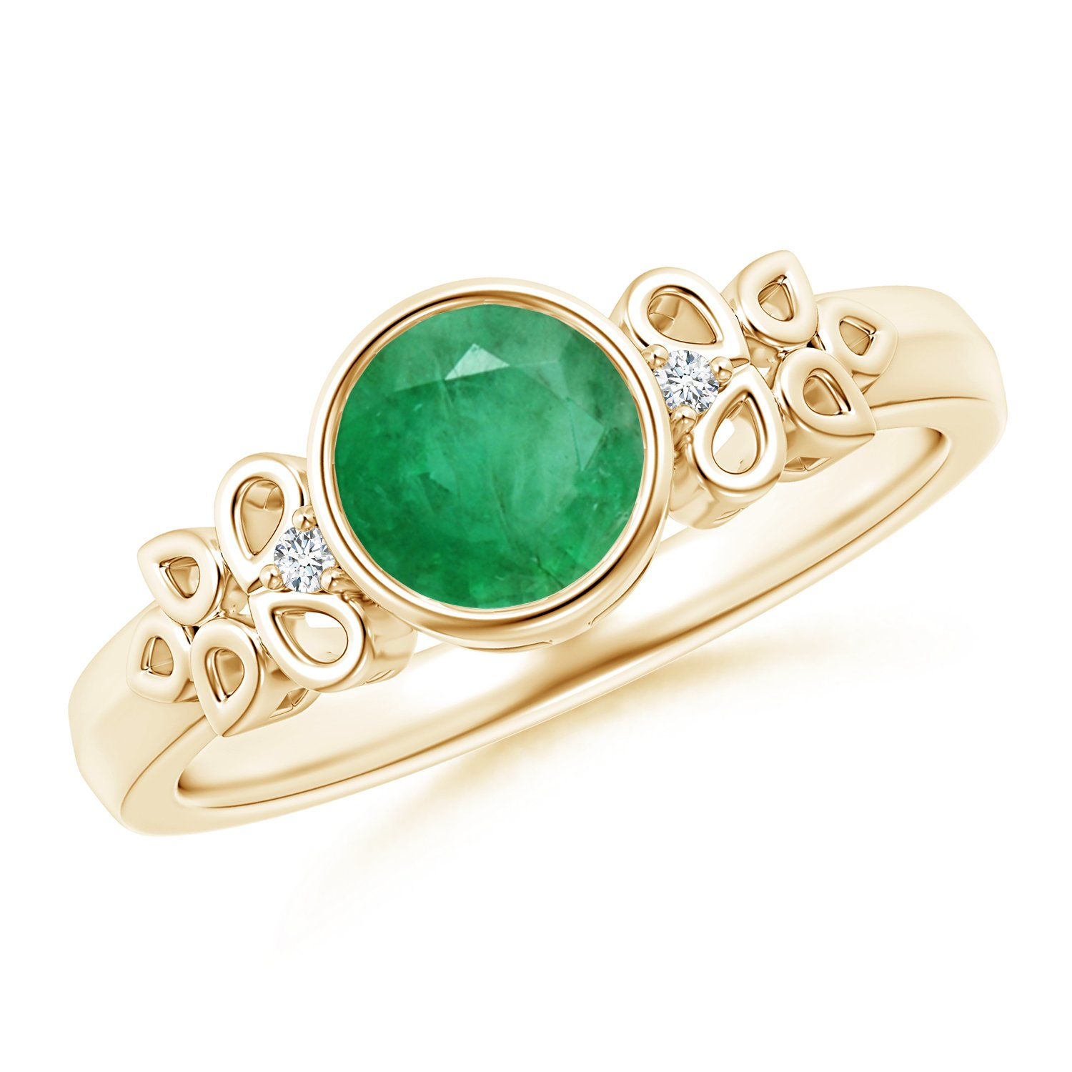 May Birthstone - Vintage Round Emerald Bezel Ring for Women with Diamond Accents in 14K Yellow Gold (6mm Emerald)