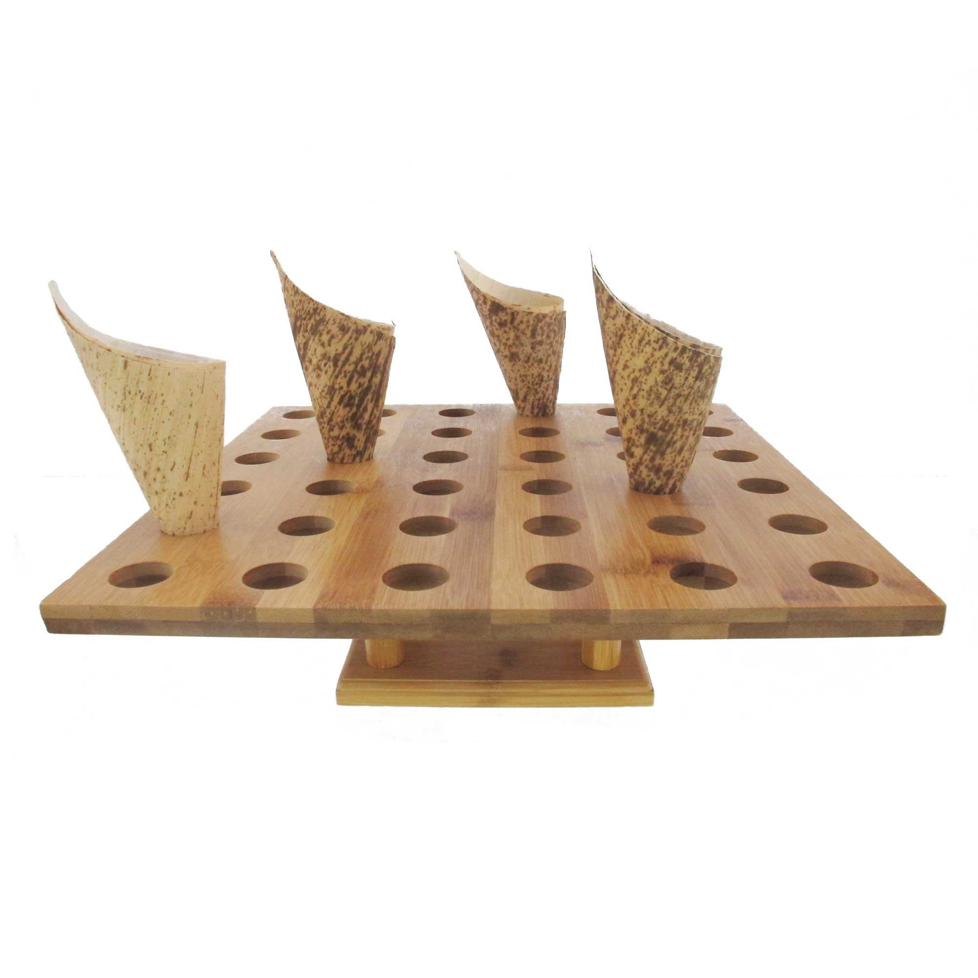 BambooMN 13'' x 13'' Natural Bamboo Square Food Cone Display Tamaki Stand for Restaurants, Catered Events, Party or Buffets, Holds up to 36 Cones - 3 Pieces
