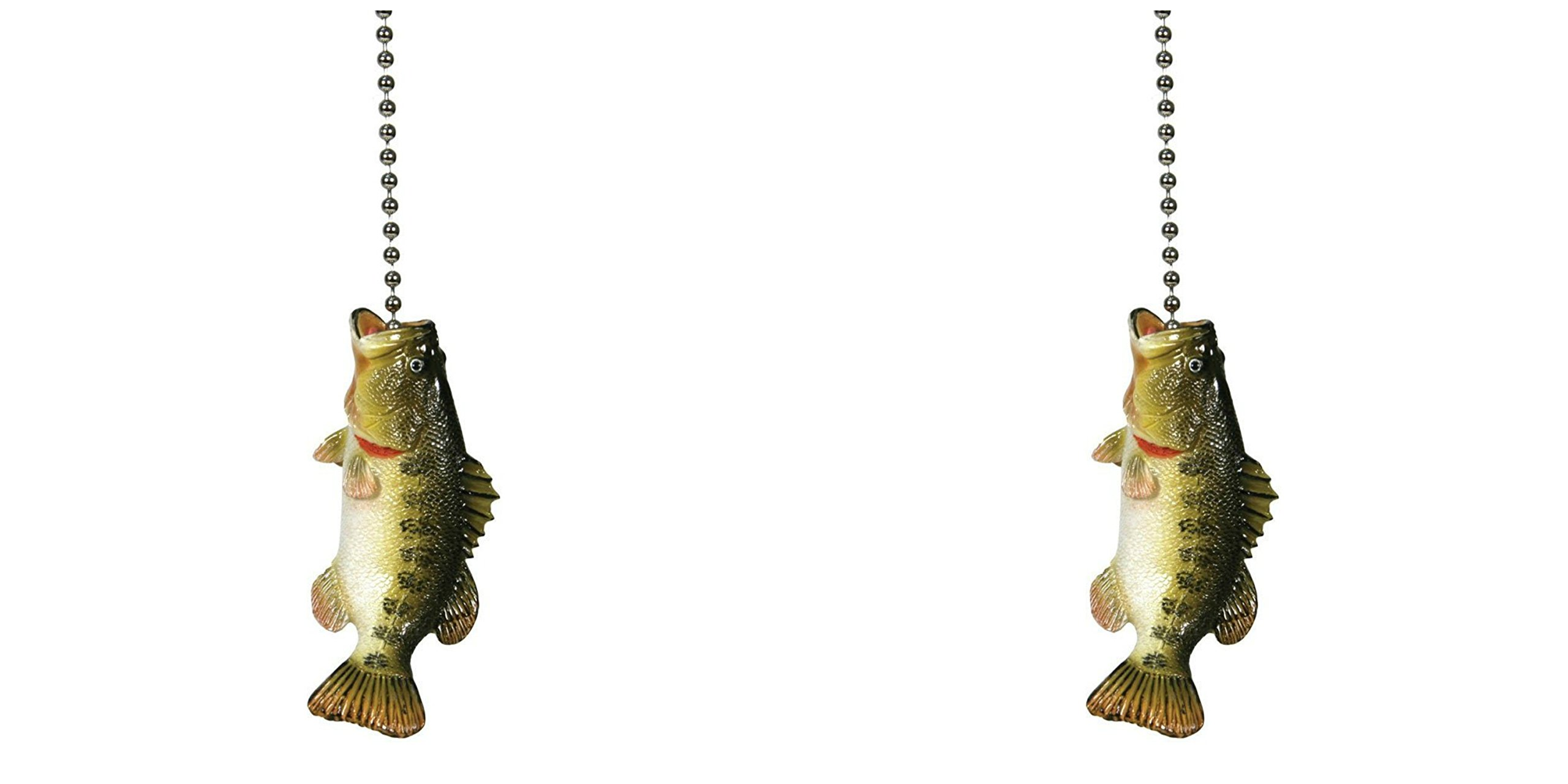 Large Mouth Bass Fishing Lodge Ceiling Fan Pull Light Chain 2 PACK