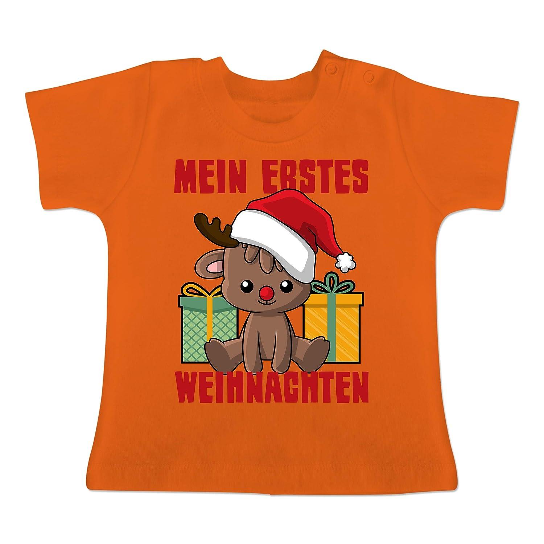 Mein erstes Weihnachten mit Rentier Baby T-Shirt Kurzarm Weihnachten Baby