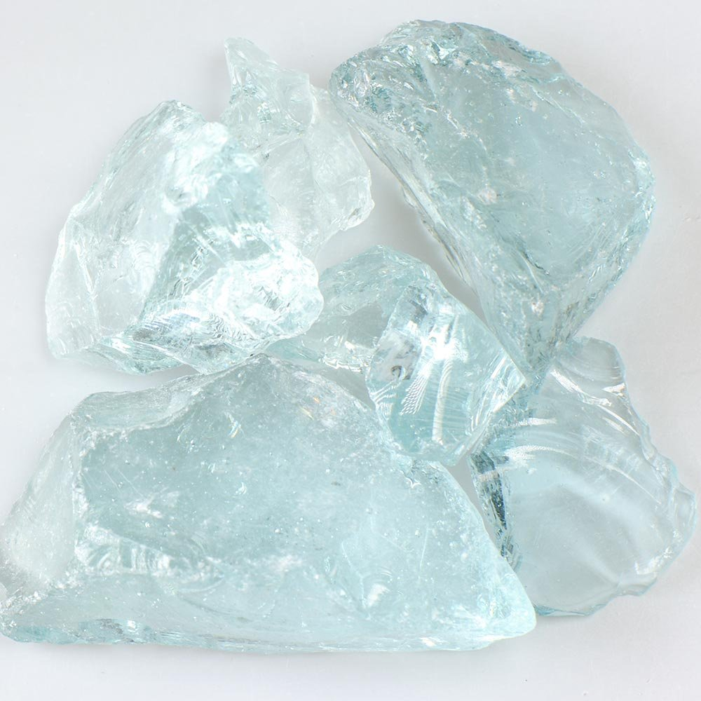 My Fireplace Glass - 50 Pound Fire Glass with Fire Pit Glass - Small, 1/4 - 1/2 Inch, Crystal Teal