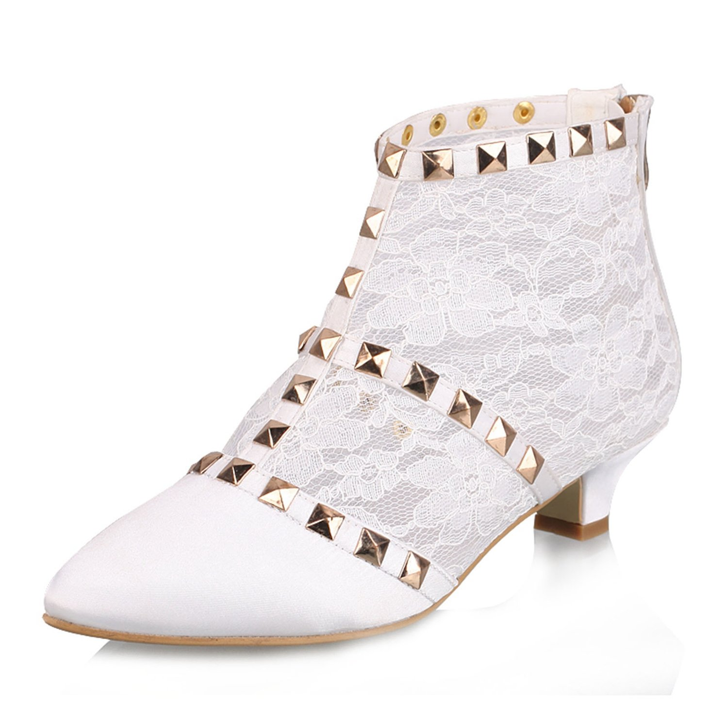 Minishion GYTH13137 Womens Kitten Heel Pointed Toe White Lace Floral Evening Party Bridal Wedding Sequin Zip Shoes Ankle Boots US 8.5