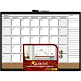 "Quartet Dry Erase Board / Cork Board, Calendar Board, Magnetic, 17"" x 23"", 1-Month Design with List, Black Frame (79380-WM)"