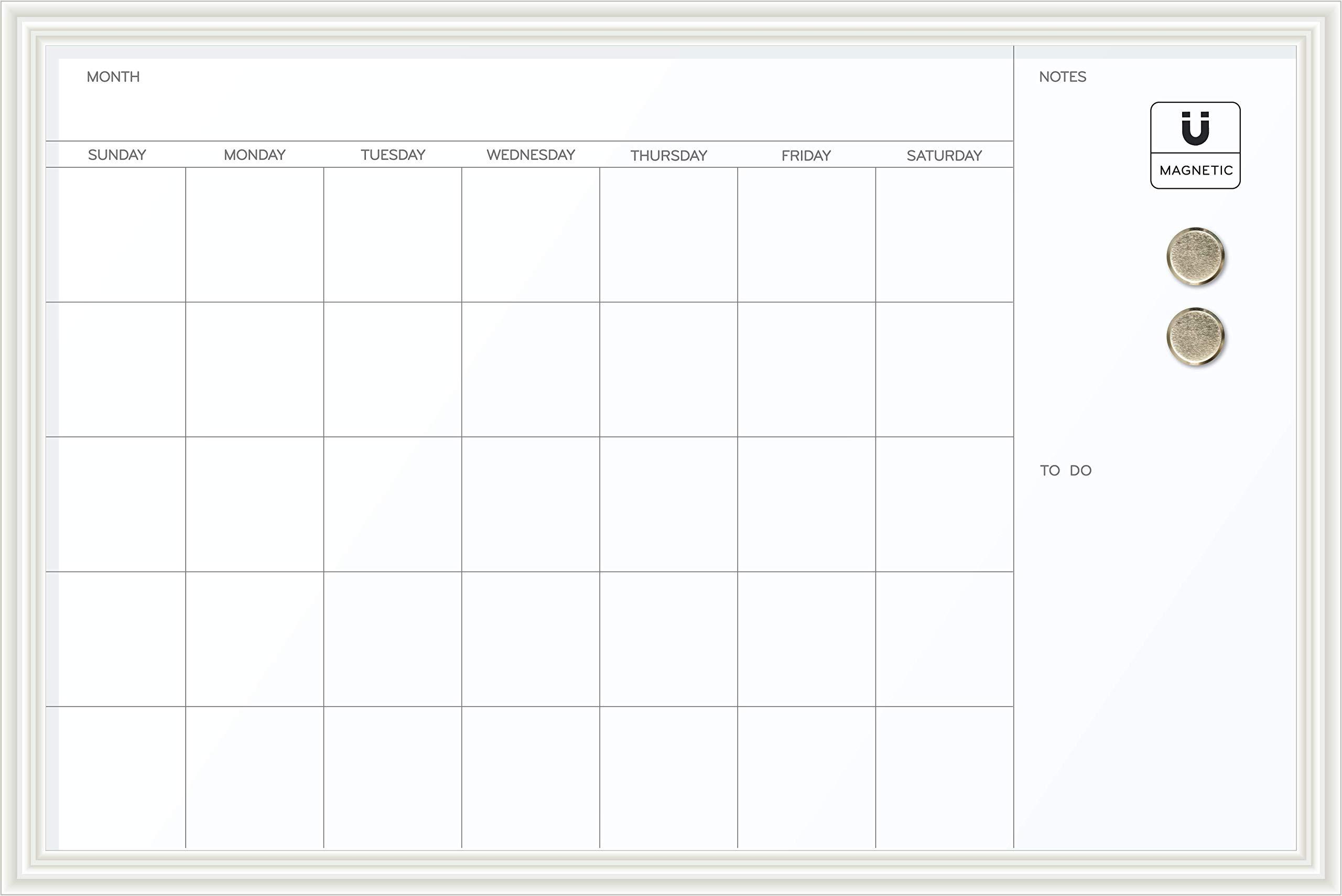 U Brands Magnetic Dry Erase Calendar Board, 20 x 30 Inches, White Wood Frame
