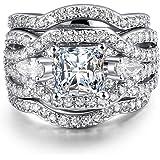 3 PCS Platinum Plated Princess Cut Halo Cubic Zirconia Infinity Wedding Bridal Ring Set
