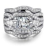 Amazon Price History for:3 PCS Platinum Plated Princess Cut Halo Cubic Zirconia Infinity Wedding Bridal Ring Set