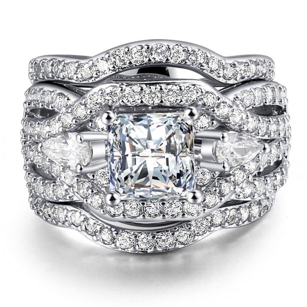 UOKOHO 3 PCS Platinum Plated Princess Cut Synthetic Diamond Halo Cubic Zirconia CZ Infinity Wedding Bridal Ring Set Size 9