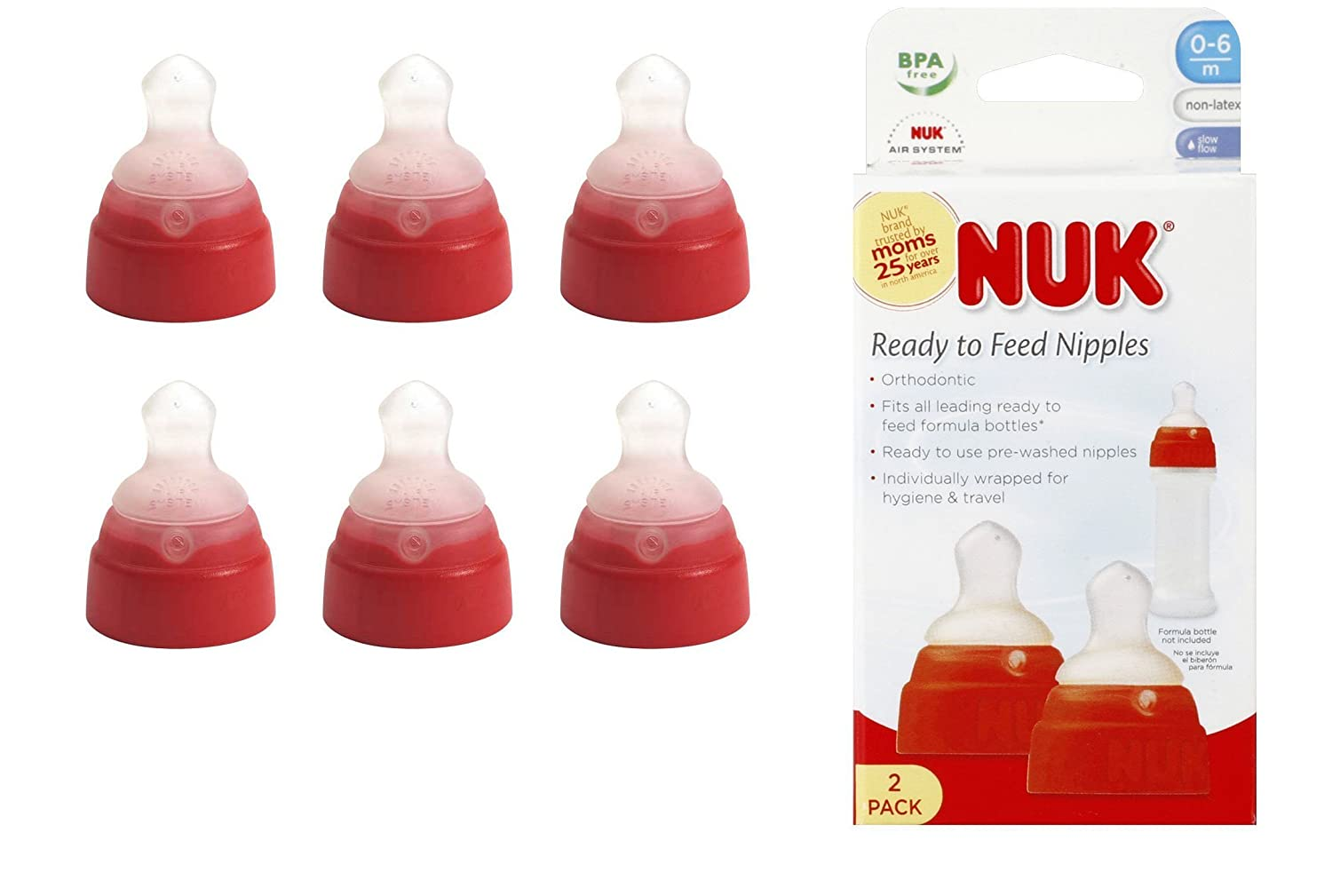 Amazon.com: NUK anatómica ready-to-feed pezón – Pack de 6: Baby