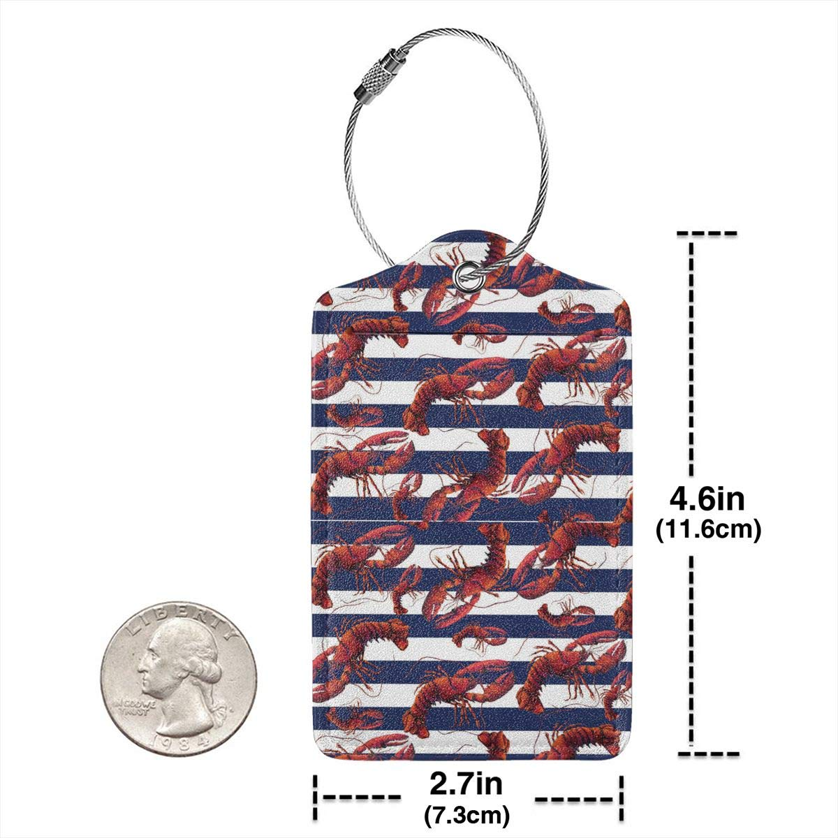 Red White And Blue Striped Lobster Leather Luggage Tags Personalized Address Card With Adjustable Strap