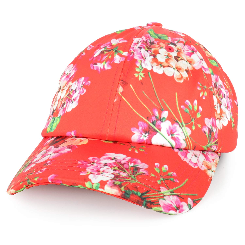 e091cd707 Trendy Apparel Shop Women's Floral Print Satin Unstructured Low Profile  Baseball Cap - Black at Amazon Women's Clothing store: