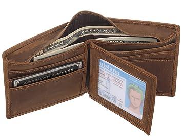 Polare Vintage Trifold auténtica piel plena flor tipo cartera para hombres, marrón (Marrón) - VAS17711: Amazon.es: Equipaje