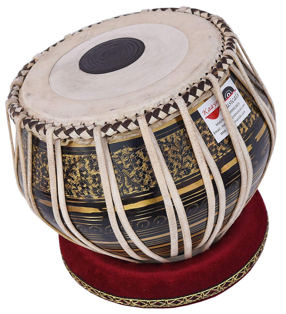Tabla Drum Set, 2.5 Kg Black Painted Designer Brass Bayan, Beautiful Look, Sheesham Wood Dayan, Hand Made Drum Skin, Camel Leather Strap to Tune, Comes with Tuning Hammer, Gig Bag, Cushion & Cover by Kaayna Musicals (Image #8)