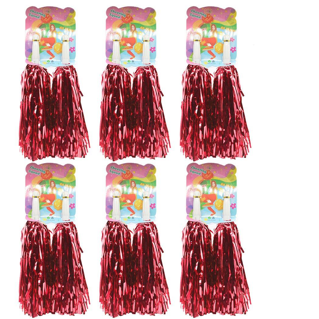 1 Docena Prima Animadoras Pompones, Creatiees 12pz Mano Flores Animadora Pompones para Deportes Aclamaciones Pelota Baile Fancy Vestir Noche Fiesta (Azul)