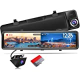 """PORMIDO Mirror Dash Cam Backup Camera 12""""Large Full Touch Split Screen Front and Rear View Camera 1296P HD Waterproof Back up"""