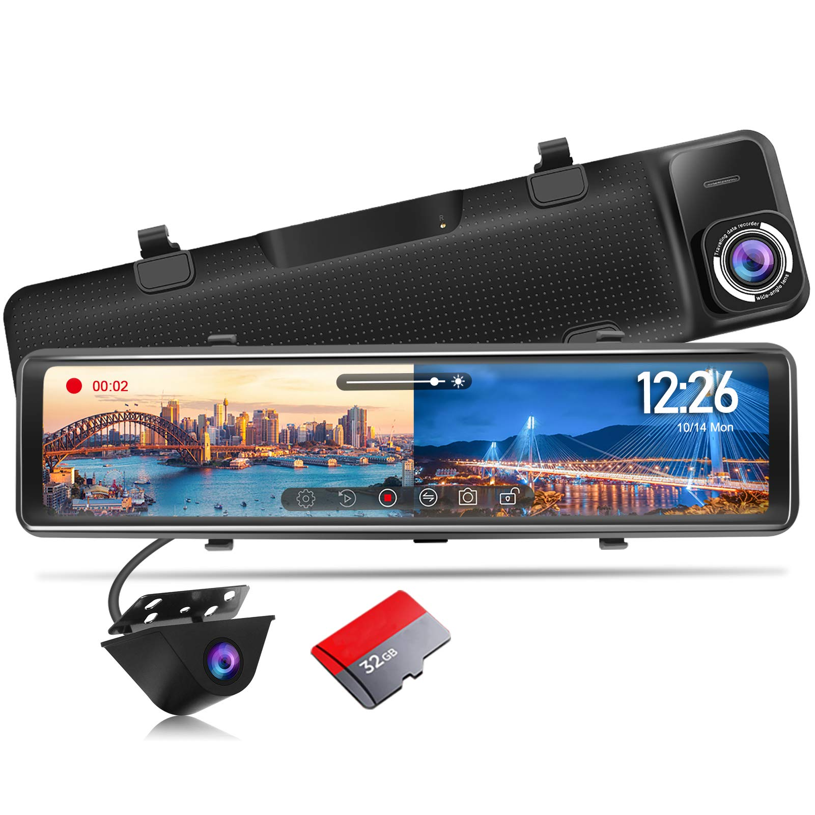 """PORMIDO Mirror Dash Cam Backup Camera 12""""Large Full Touch Split Screen Front and Rear View Camera 1296P HD Waterproof Back up Car Camera 170° Wide Angle,Starlight Night Vision,Parking Monitor, SD Card"""