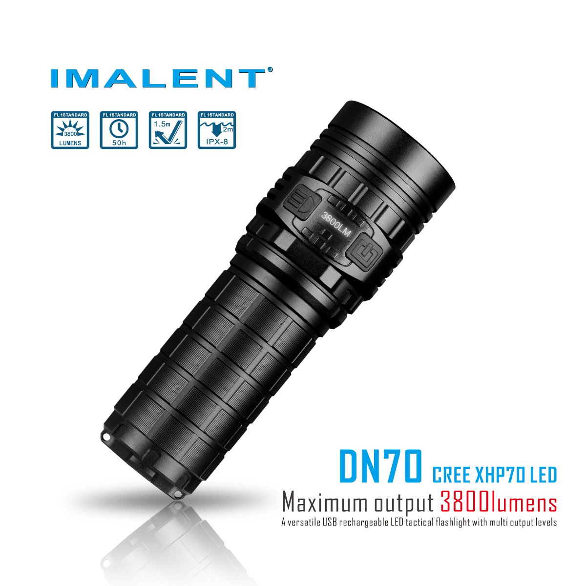 Imalent new DN70 USB rechargeable palm-sized LED flashlight 3800lumens searching light portable floody flashlight with CREE XHP70 LED