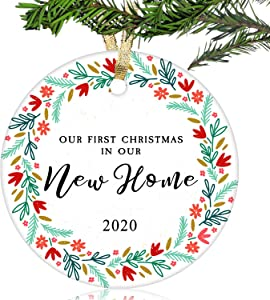 NURIONSS Our First Christmas in Our New Home Ornaments 2020 - Christmas Wedding Decoration Gift for New Home New Homeowner New Apartment - 2.85