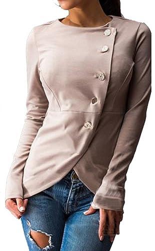 Longwu mujeres de manga larga solo breasted trabajo Blazer asimétrico Hem abrigo de la chaqueta