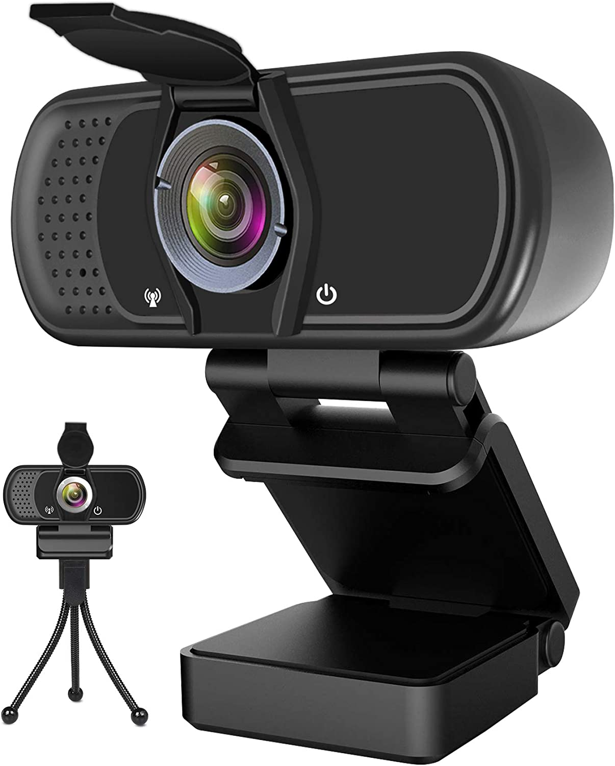 Webcam with Microphone, Hrayzan 1080P HD Webcam with Privacy Cover and Tripod, Streaming Computer Web Camera with 110-Degree Wide View Angle, USB PC Webcam for Video Calling Recording Conferencing : Camera & Photo