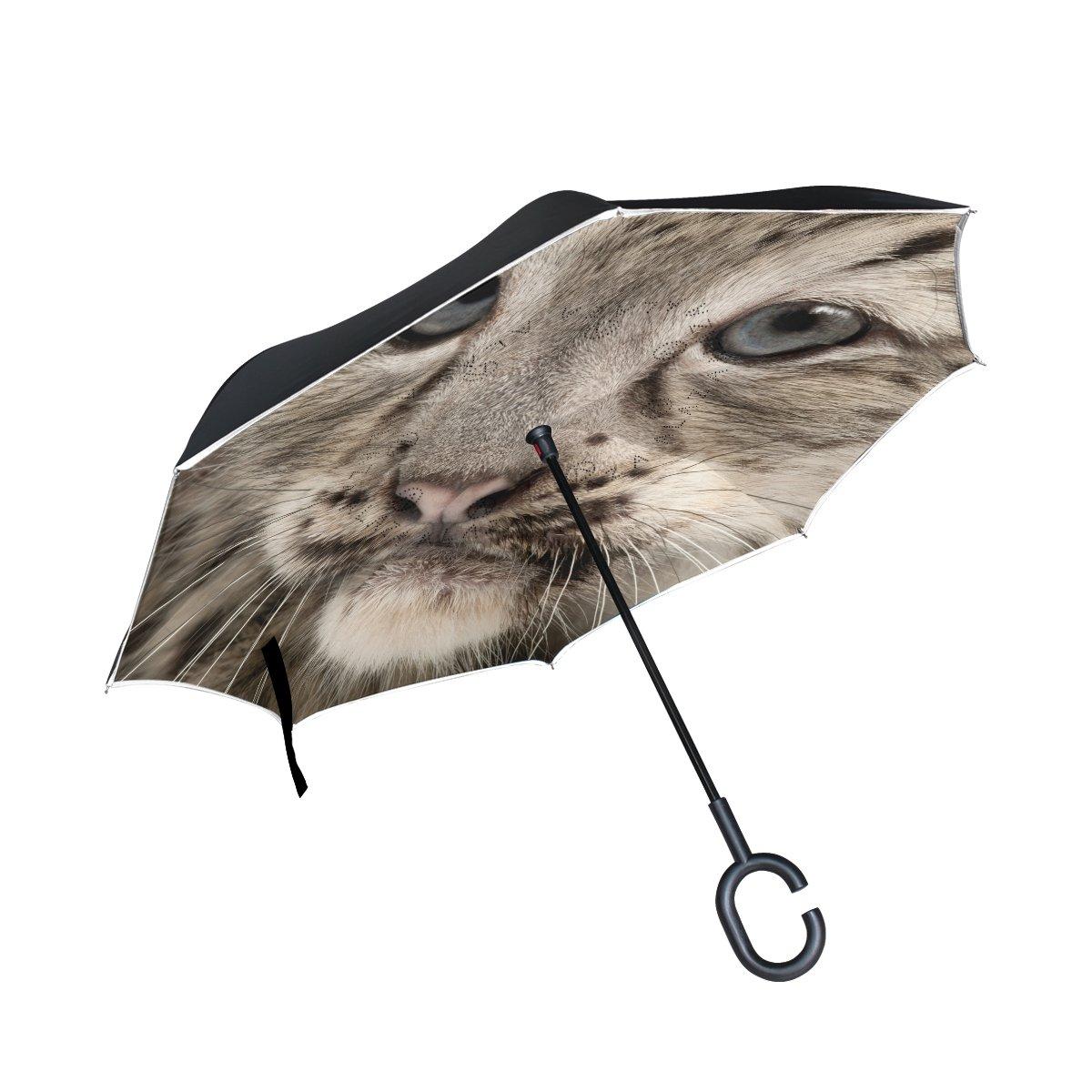 COOSUN - Paraguas invertido de Doble Capa con diseño de Leopardo de Nieve para Coche y Exterior, Resistente al Viento, Resistente al Agua y a los Rayos UV, ...