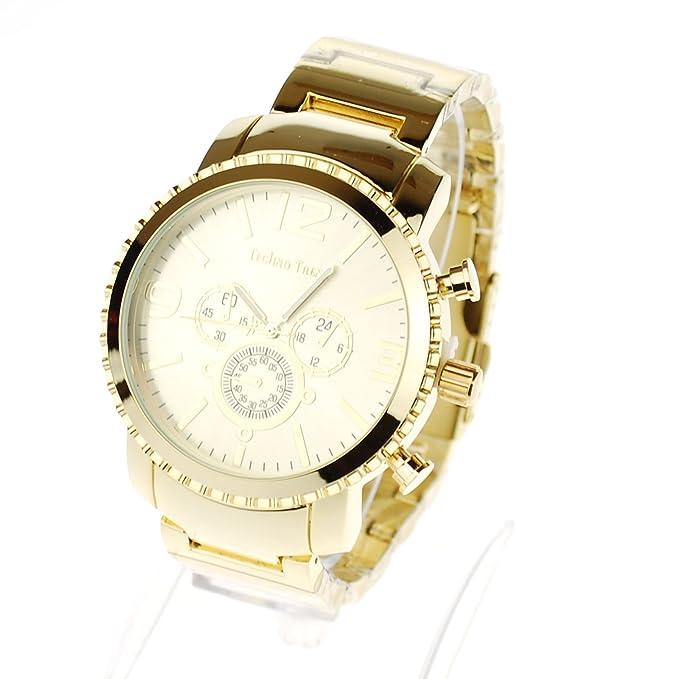 Amazon.com: Techno Trend Mens Luxury Metal Band Quartz Round Heavy Dress Wristwatch Gold: Watches
