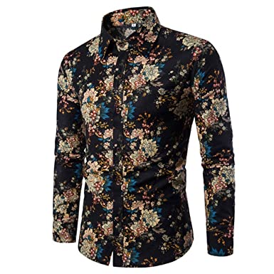 ten is heart Shirt Men s Long Sleeve Floral Casual Cool Designer Cotton  Botanical at Amazon Men s Clothing store  a1f7c9f38