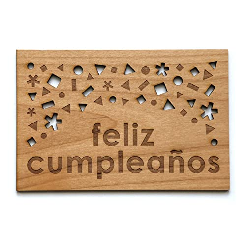 Amazon.com: Feliz Cumpleaños Laser Cut Wood Birthday Card ...