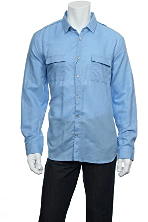 06db767f8b0e Image Unavailable. Image not available for. Color: Calvin Klein Light Blue  Window Pane Button Down Shirt ...
