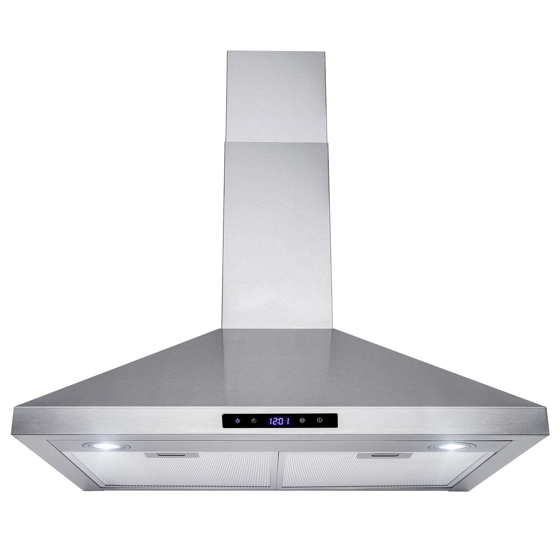Golden Vantage 30'' Wall Mount Stainless Steel Touch Control Kitchen Range Hood Cooking Fan w/ Mesh Filter