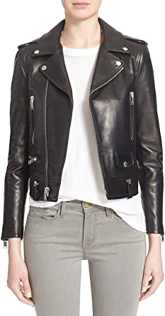 Biker Jacket SID Womens Lambskin Leather Zipper Front Jacket