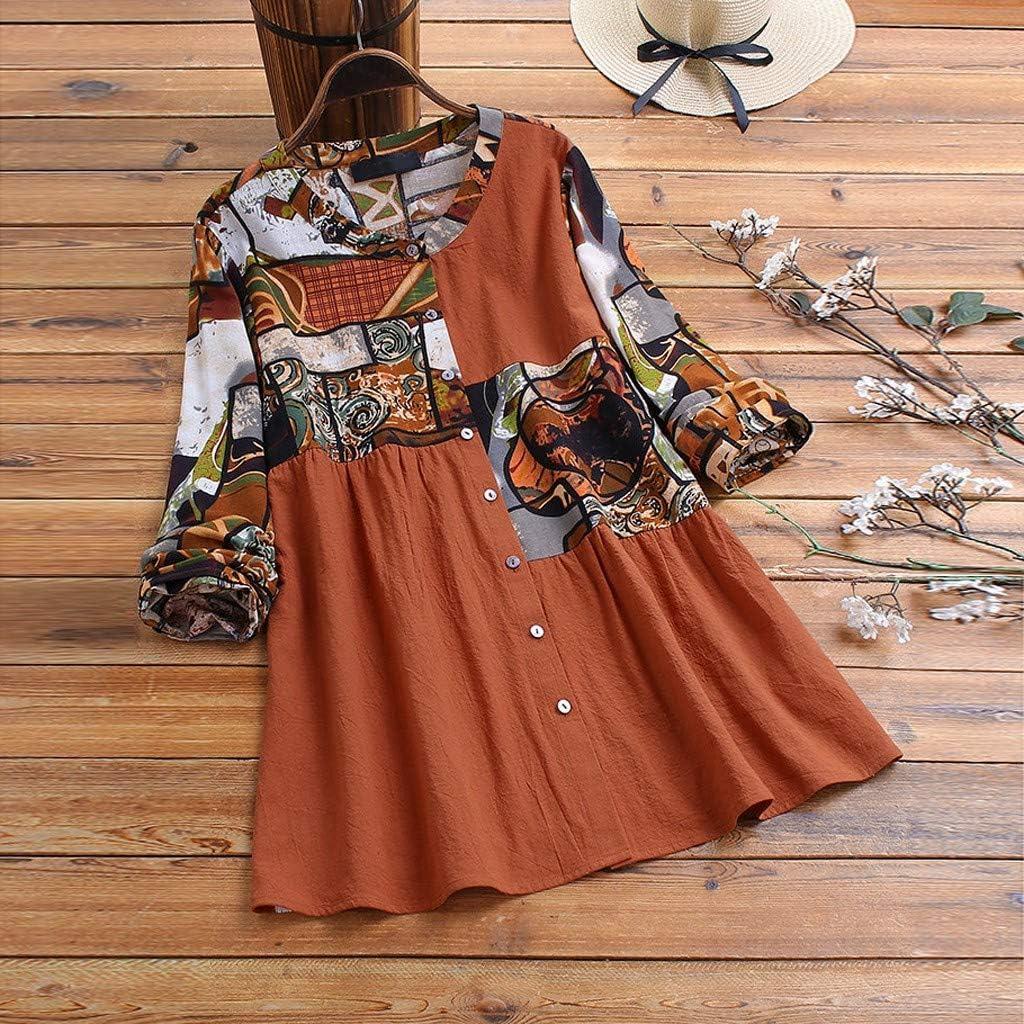 Lataw Womens Tops Ladies T-Shirt Casual Leisure Cute Blouse Irregular Hem Linen Button Plus Size Costume Basic Clothes Tunics