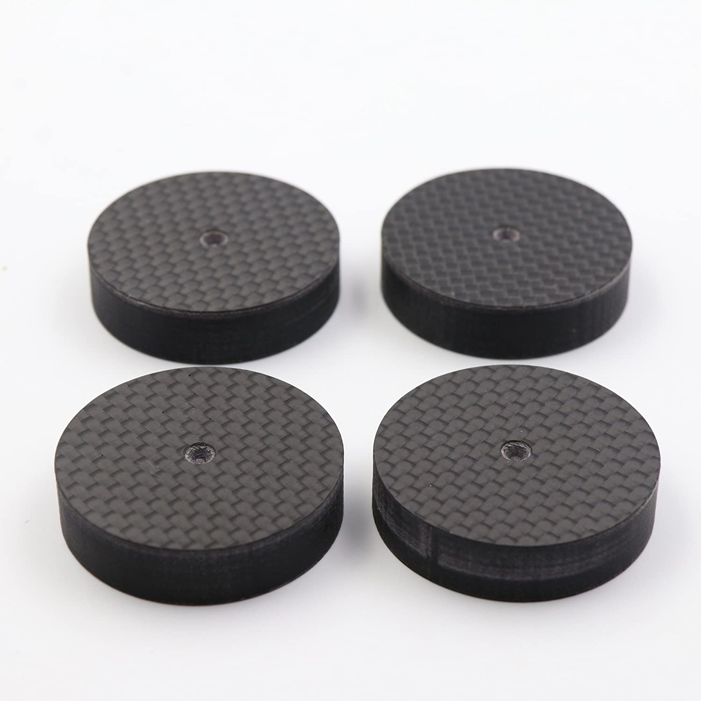 PAPRI 4PCS 25x5MM Carbon Fiber Speaker Spike Cone Pad Isolation Base Feet Pads Audio HiFi Tube Amps CD Player PRCF25-5