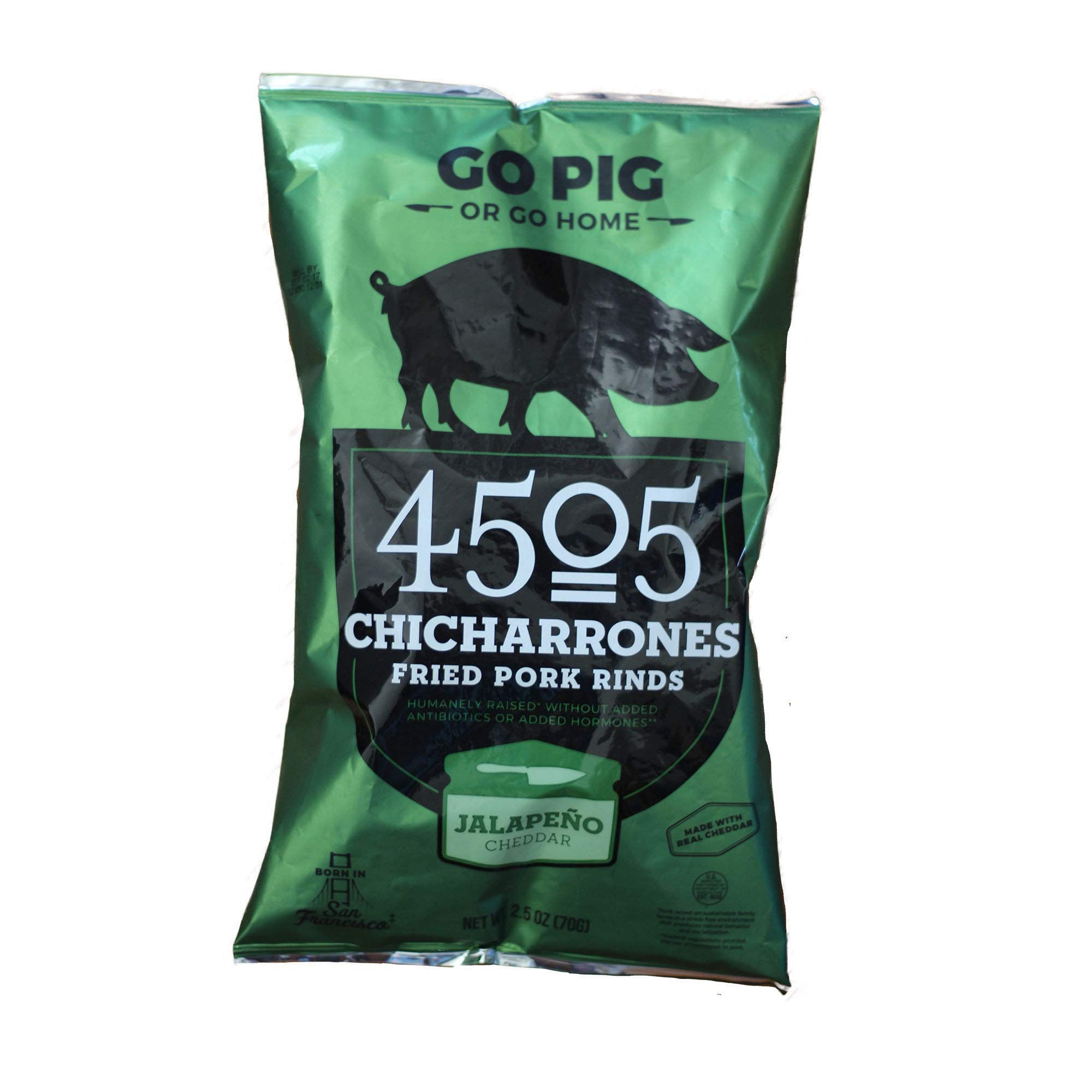 4505 Meats Chicharrones Fried Pork Rinds, Jalapeno Cheddar, 2.5 Ounce, 6 Count by 4505 Meats (Image #2)