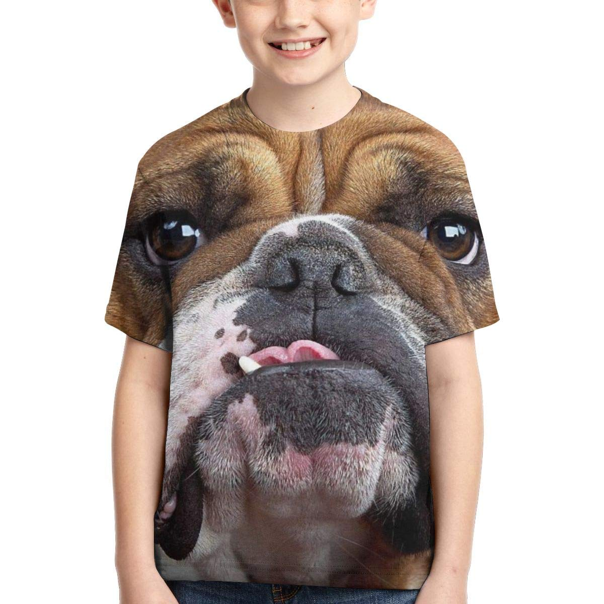Vy32jg-2 Short Sleeve Bulldog Face T-Shirts for Children XS-XL Casual Blouse Clothes