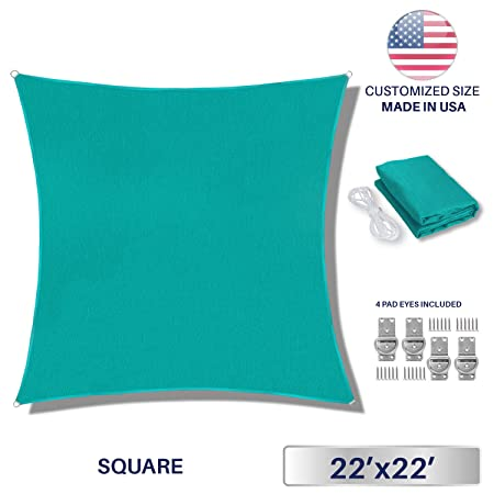 Windscreen4less 22 x 22 Sun Shade Sail UV Block Fabric Canopy in Turquoise Square for Patio Garden Customized Size Free Pad Eyes 3 Year Limited Warranty