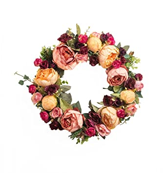 Perfect Large Blooming Flower Wreath Handmade Home Wall Decor Vintage Model