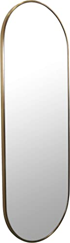 Glass Warehouse Pill Shape Wall Mounted Bedroom Bathroom Living Room Washroom Dining Room 60 X22 inch Stainless Steel Satin Brass Framed Mirror – 60 X22 – SB