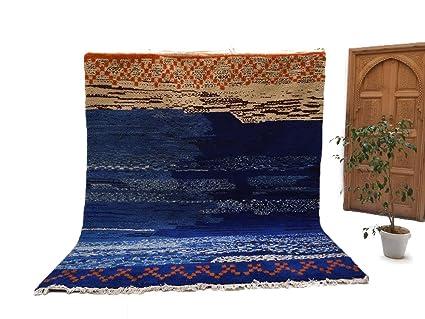 Stunning Blue 9x11 Moroccan Rug Berber Handmade Organic Wool Blue Beni  Ourain Rug
