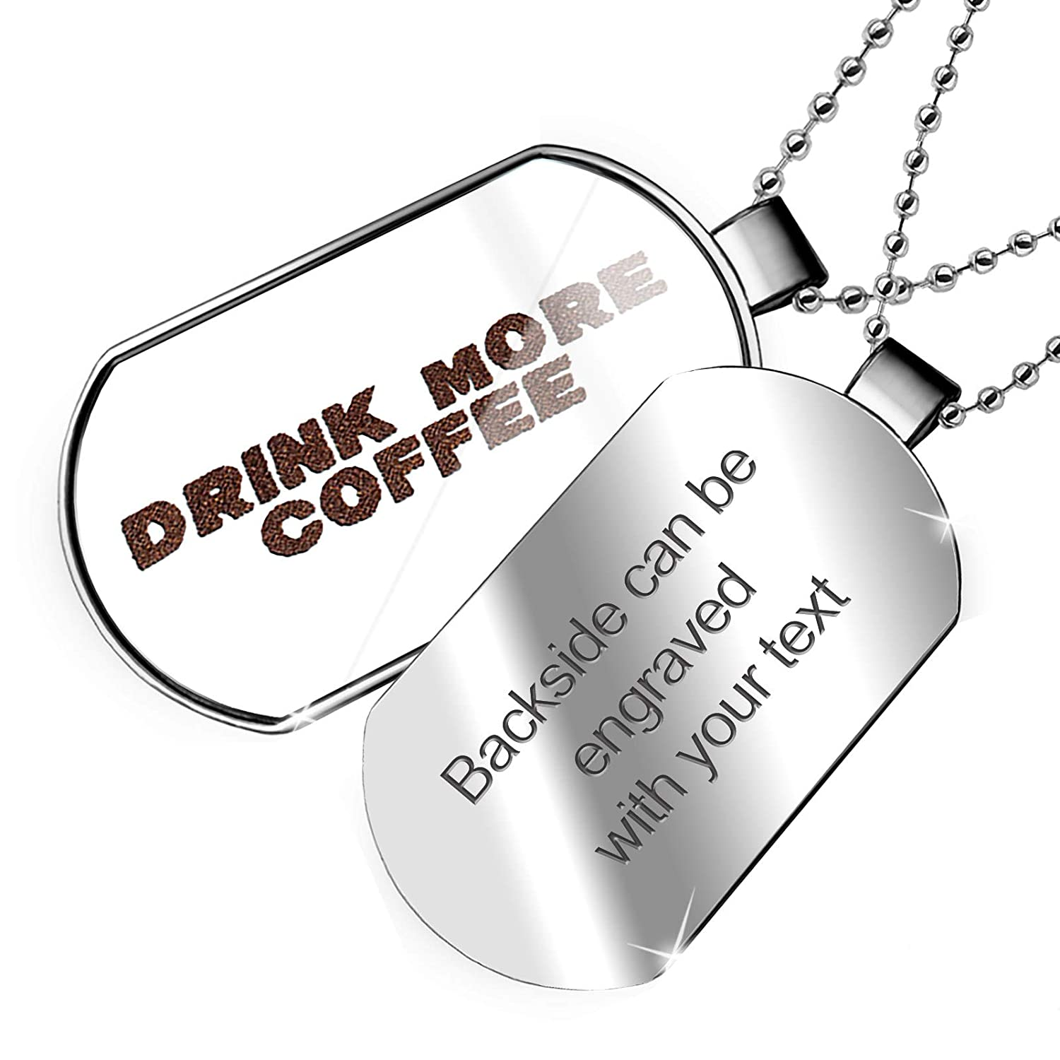 NEONBLOND Personalized Name Engraved Drink More Coffee Roasted Coffee Beans Dogtag Necklace