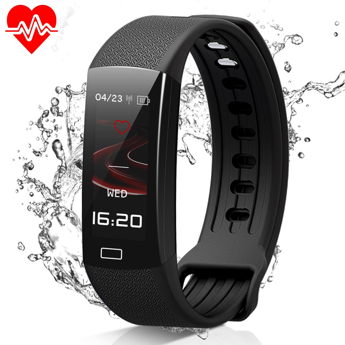 MOCRUX Fitness Tracker, Color Screen Smart Bracelet Activity Tracker with Heart Rate Monitor, IP67 Waterproof Smart Band with Sleep Monitor Calorie Counter Pedometer Sport Tracker for iOS/Android